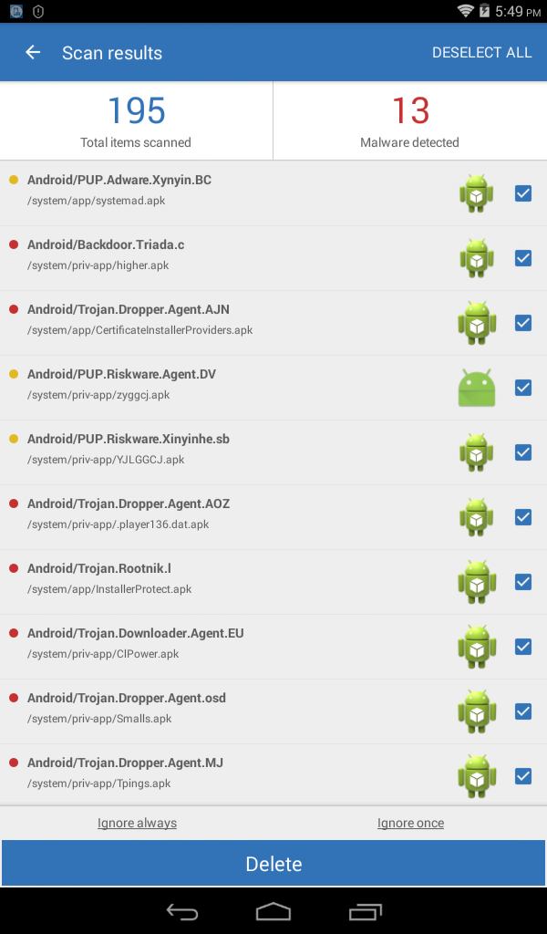 26628c6930b Why Malawarebytes mobile can't delete theses? - Mobile Malware ...