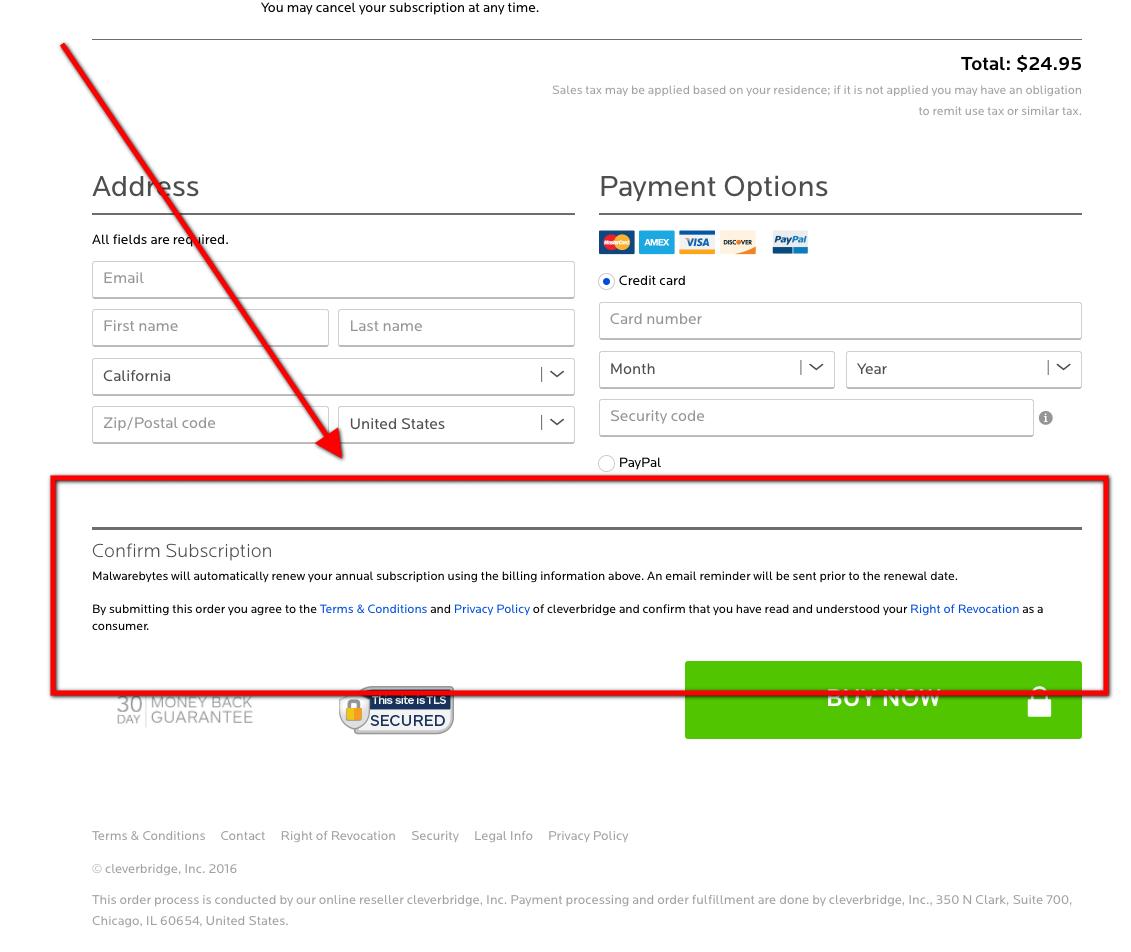 Automatic bank account deduction for renewal on Malwarebytes