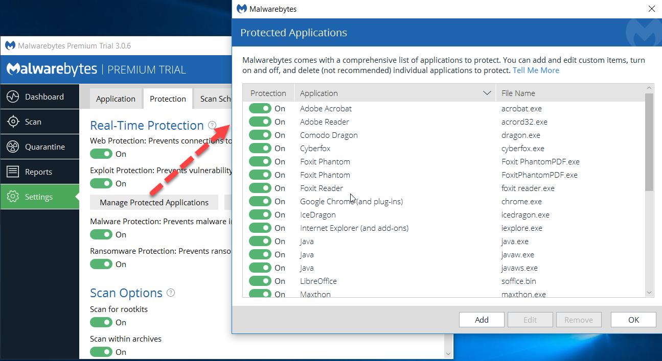i can't edit anti-exploit option on V 3 0 6 - Malwarebytes 3 Support