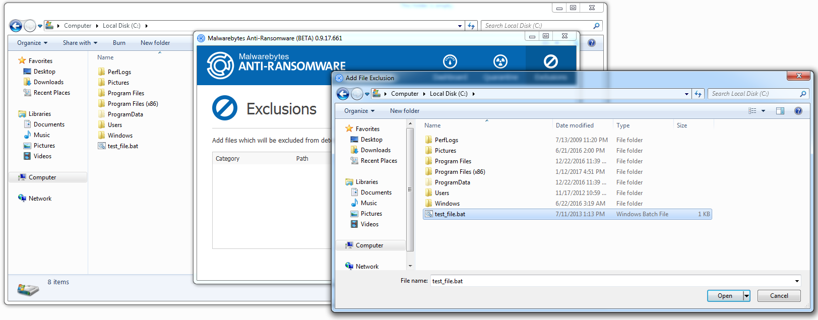 Cannot create exceptions for Batch FIles - Anti-Ransomware