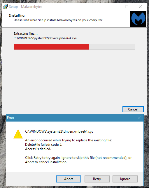 Malwarebytes will not open, and Chameleon does not work