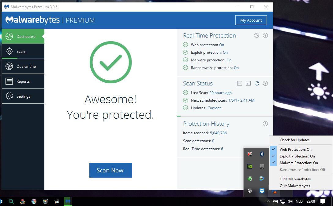 malwarebytes settings keep changing