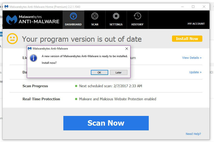 malwarebytes anti malware version history
