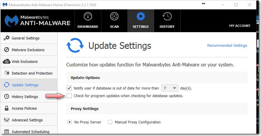 malwarebytes turn off update notification