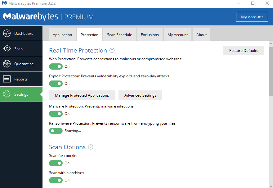 cannot turn on ransomware protection - Malwarebytes 3 Support Forum