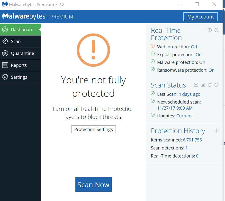 malwarebytes web protection not working