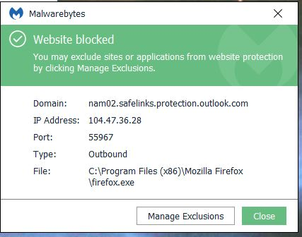 Suddenly blocked from Office 365 Outlook links - Website Blocking