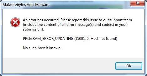 Registered server address cannot be found  - Malwarebytes