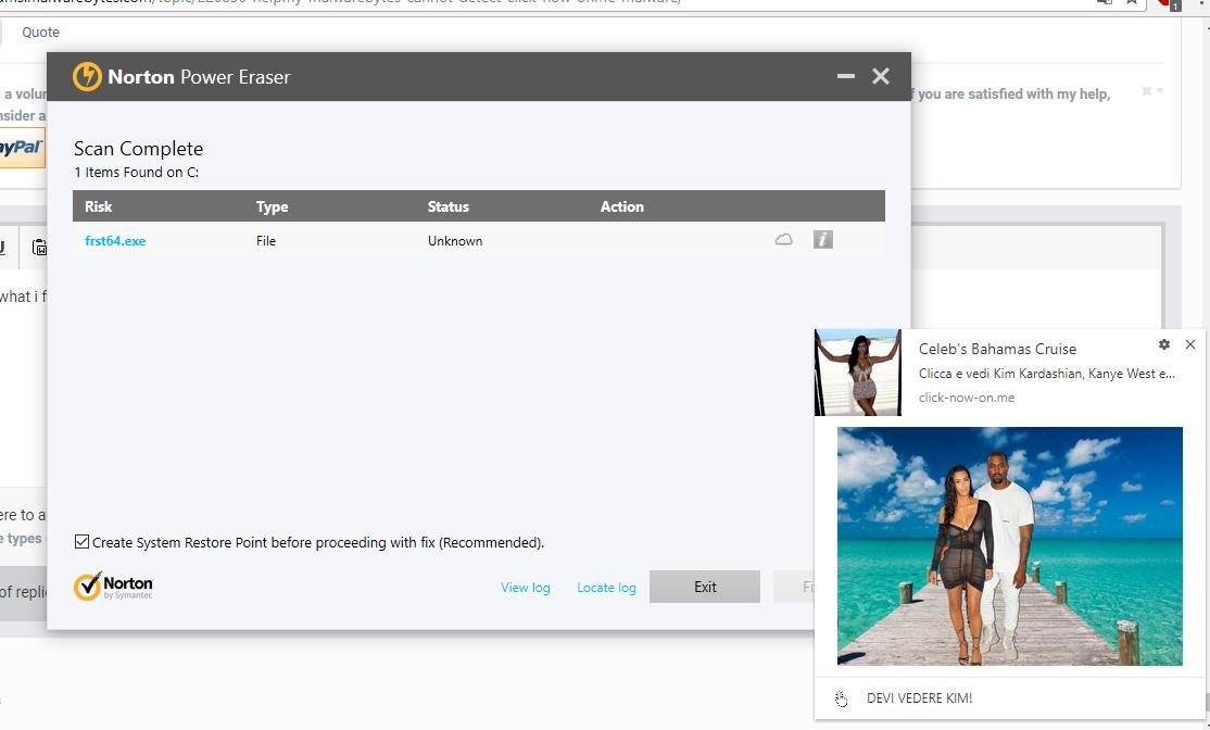 Help!My Malwarebytes cannot detect click-now-on me malware