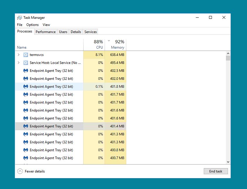 Tray icon causing high CPU usage - Malwarebytes Endpoint