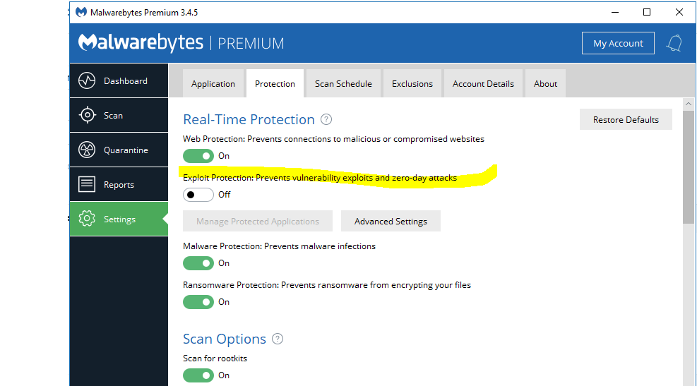 Windows 10 Pro 1803 Spring Creator Upgrade Issue - Malwarebytes 3