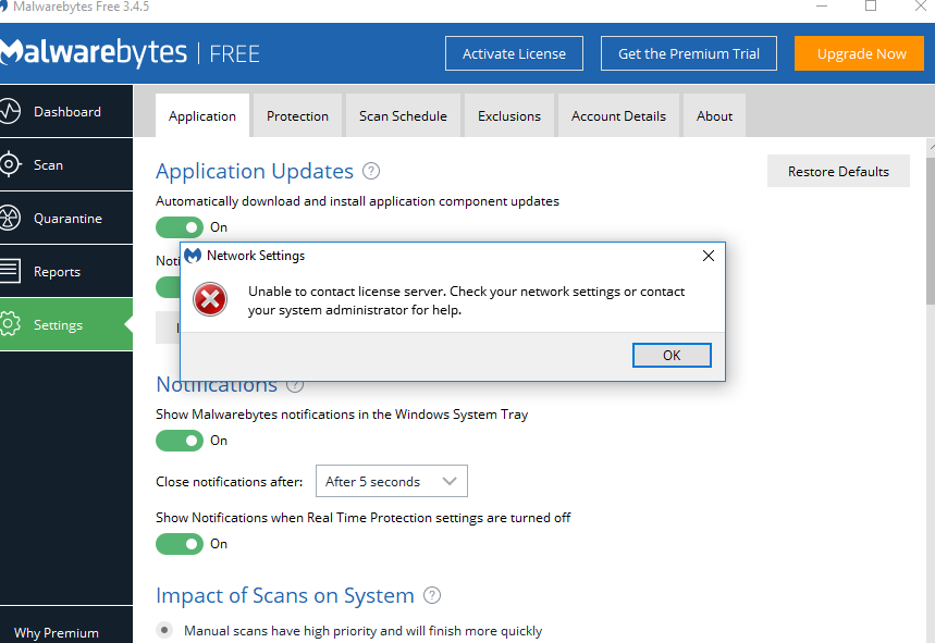 Unable to contact license server - Malwarebytes 3 Support