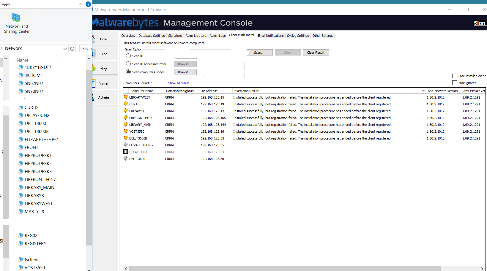 Management Console Client Push Install shows The Network Path Was