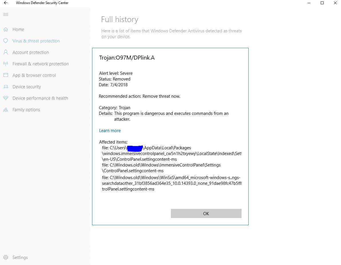 Trojan:097m/dplink a  severe issue - Resolved Malware