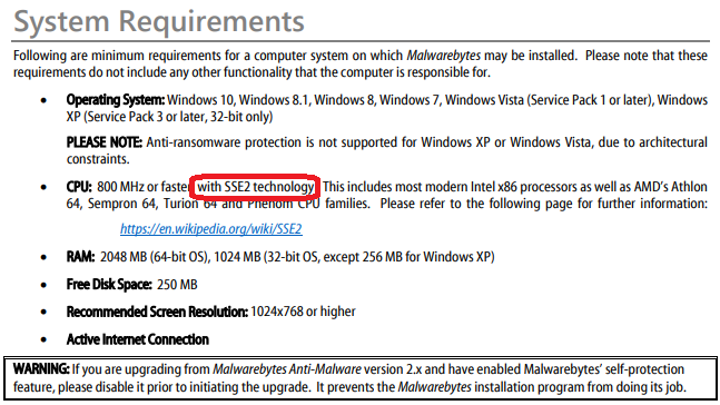 Malwarebytes 3 not working with Winxp(no SSE2-processor