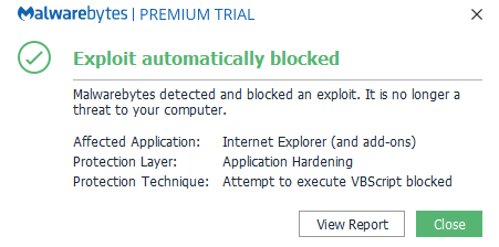 Attempt to execute VBScript blocked' - Resolved Malware Removal Logs