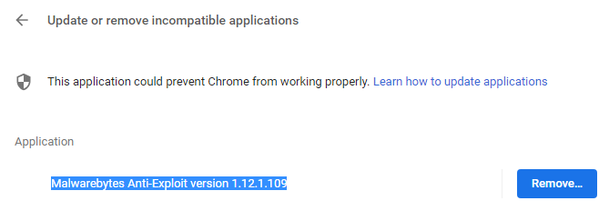 Chrome decides it wants to remove MB Anti Exploit - Anti
