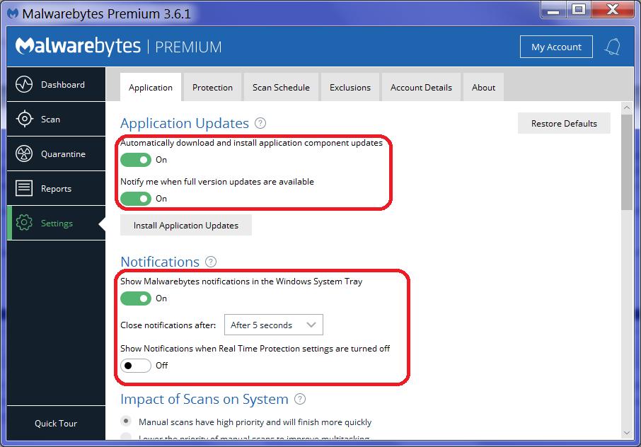 turn off malwarebytes update notifications
