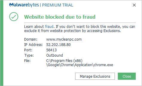 mycleanpc com blocked as fraud - Website Blocking
