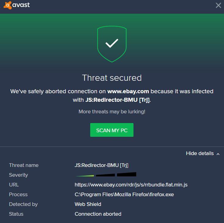 JS:Redirector-BMU [Trj] threat notice on ebay - Malwarebytes 3