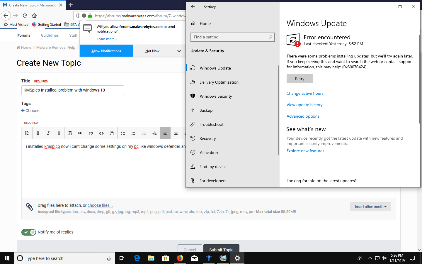KMSpico Installed, problem with windows 10 - Resolved Malware