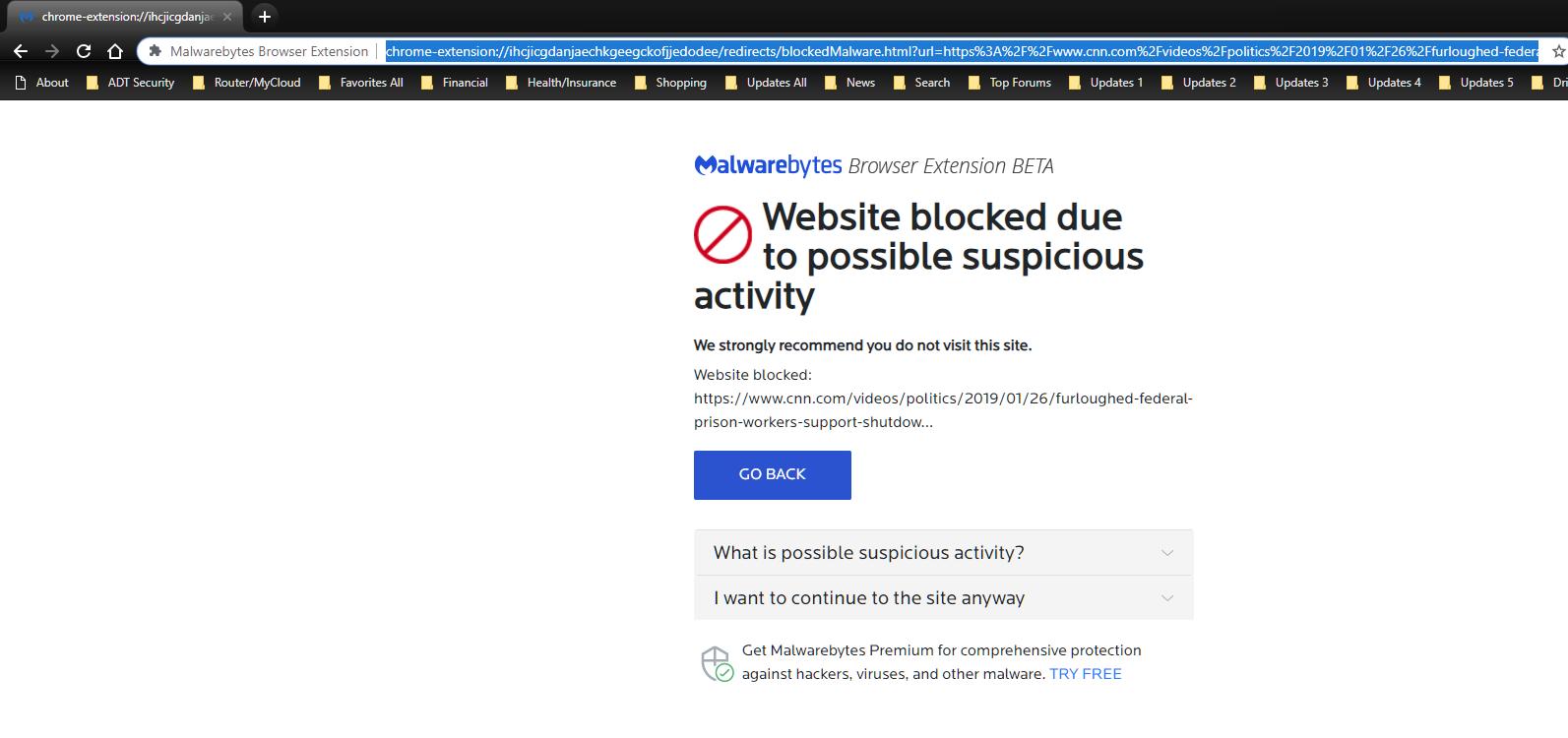 Browser Extension V1 0 36 Blocking CNN Videos - Malwarebytes for