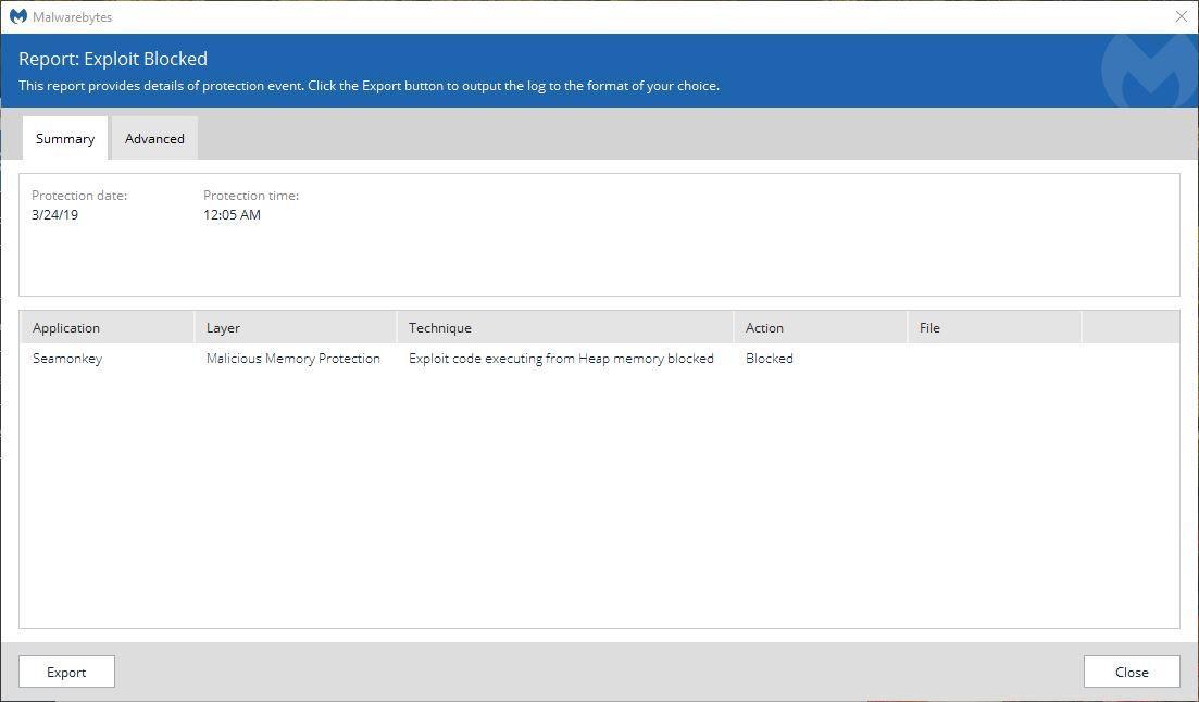 Malwarebytes closing my browser (Seamonkey) when I try to