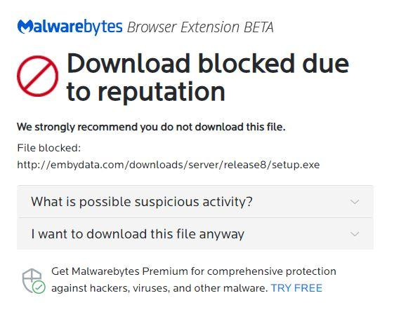 Emby Media Server - Chrome - Malwarebytes Forums