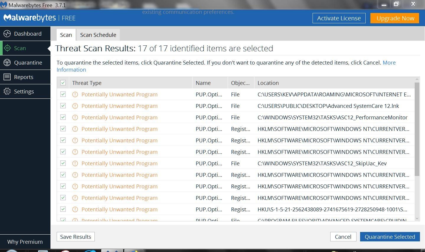 Advanced SystemCare 12 showing PuPs - Malwarebytes 3 Support