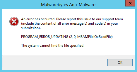 Malwarebytes update error program_error_updating pure dating apk