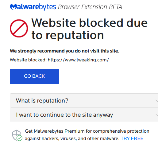 tweaking com website & forum both are blocked - Malwarebytes for