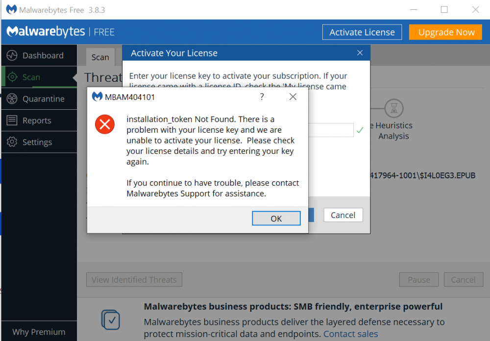 Malwarebytes Installation Token Not Found.PNG