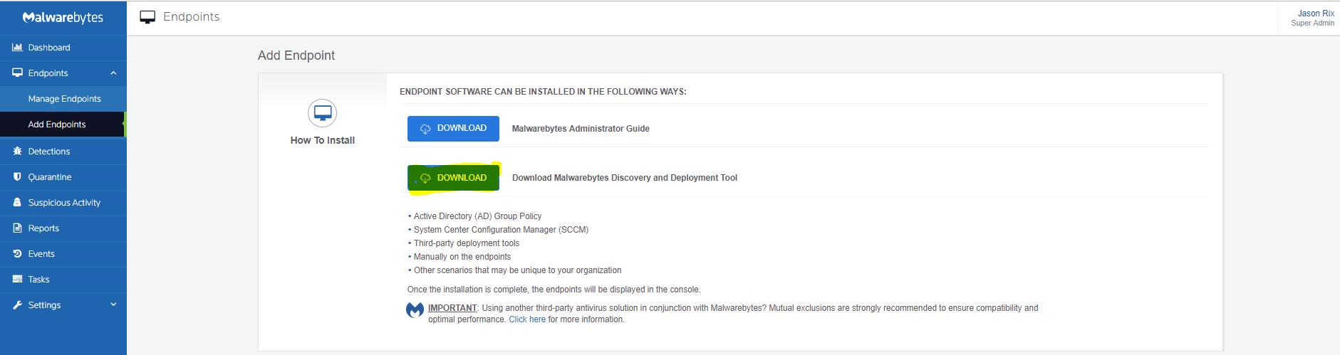Error updating Discovery & Deployment Tool - Malwarebytes