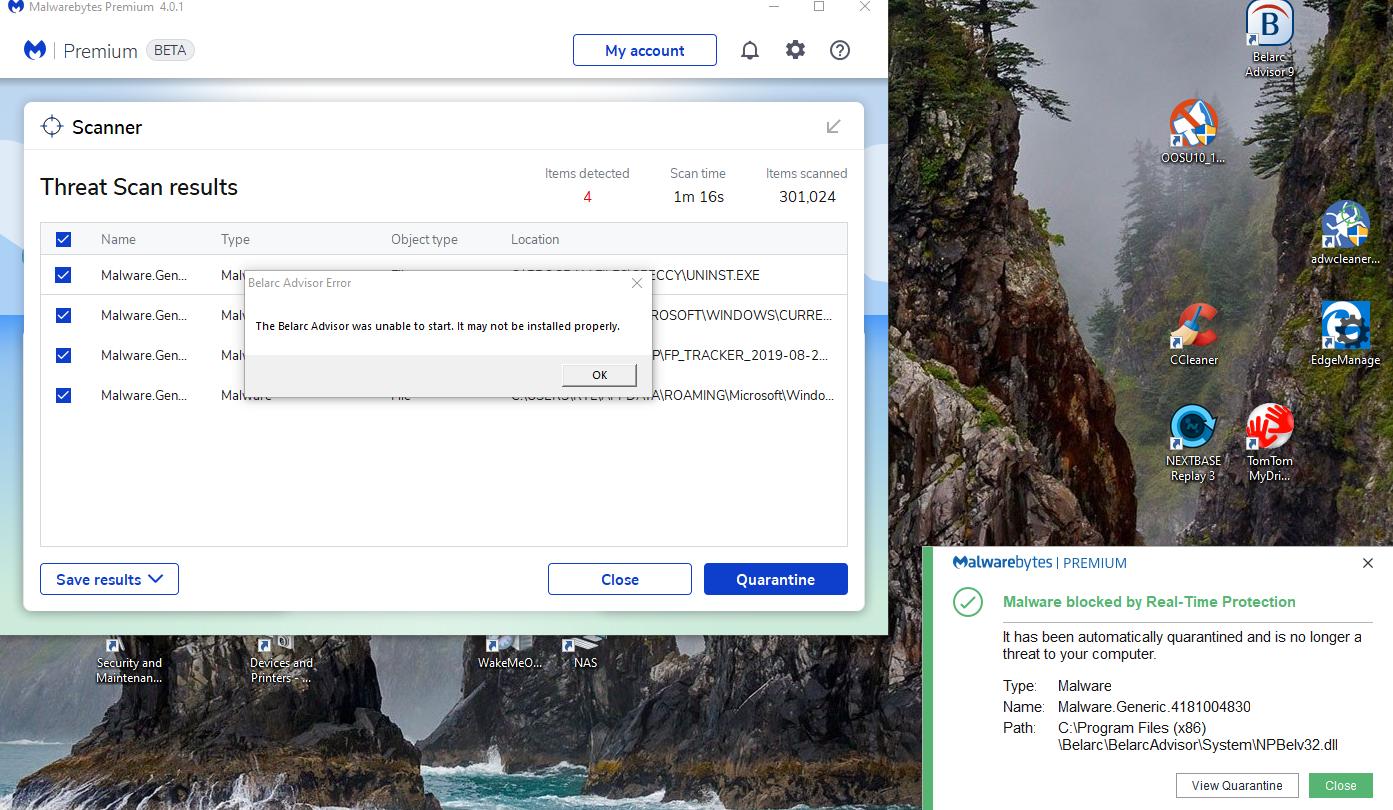 Can't run Belarc Advisor  - Malwarebytes 4 x Beta
