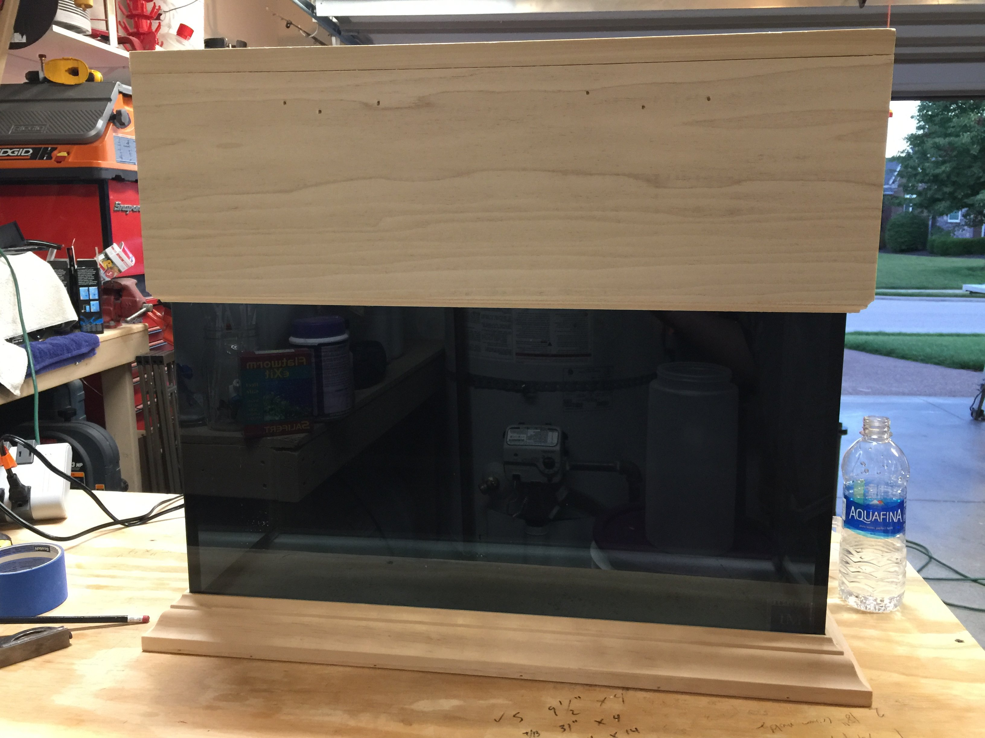 The hole in the top of the canopy will have a door on a hinge that I will let little kids feed the fish through. & Nuvo 20 DIY Tank Canopy and Base - DIY Projects - Nano-Reef.com ...