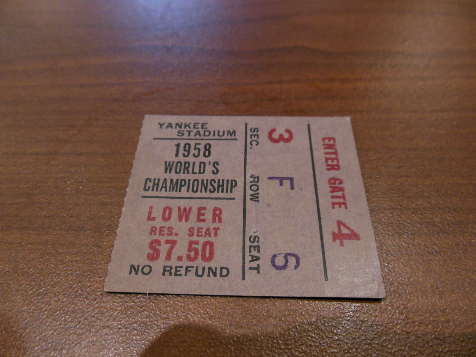 Greatest Game Ever Played   1958 ticket stub,