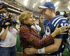 12 26 04 Peyton & Mother Olivia Hug Post game of 49th TD