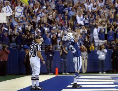 12 26 04    Stockley celebrates after the 49th TD catch from  Peyton Manning