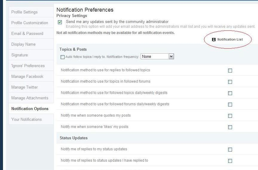 Step 3: In the Notification List Column, check everything that you want inline notifications for