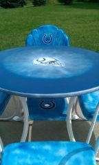 Hand painted lawn furniture without  umbrella