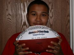 The youngest Colts fan in our family & his game ball