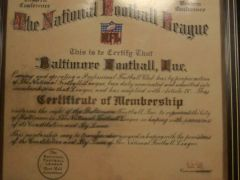 Baltimore Colts acceptance into the NFL certificate.
