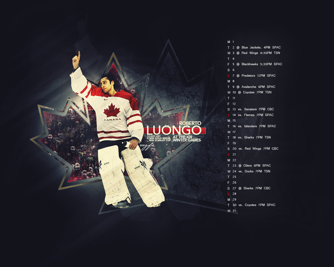 March 2010 Schedule ft. Luongo