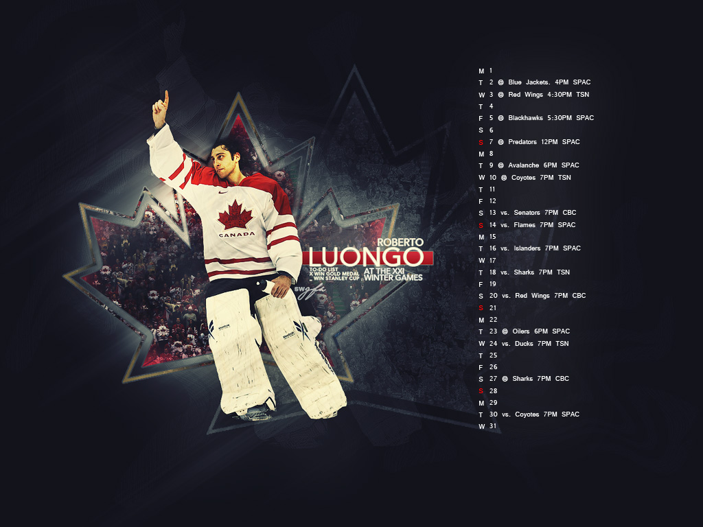 March 2010 Wallpaper ft. Luongo - 1024x768