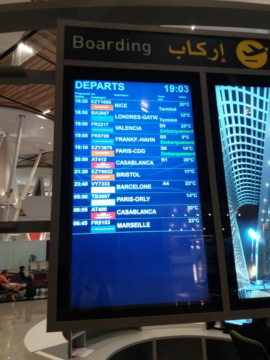 at Marrakech airport. heading Casablanca