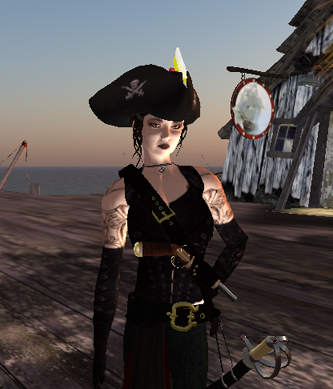 Custom skin: Brenee the Gothic Pirate Chick.