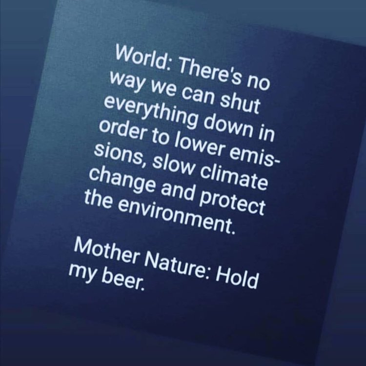 Image may contain: possible text that says 'World: way we There's no order to lower emis- everything can shut down in sions, slow climate the change and environment. protect Mother my beer. Nature: Hold'