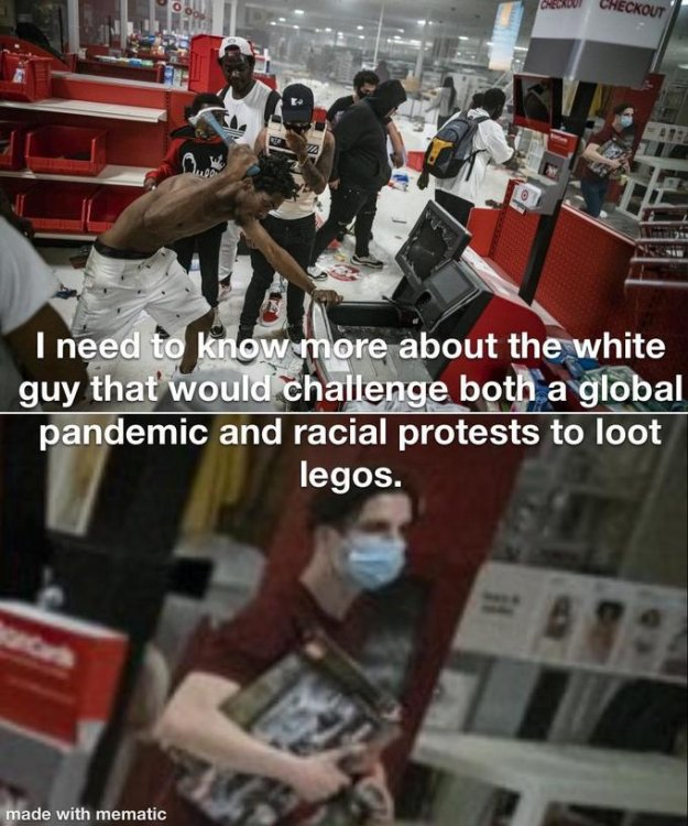 CHECKOUT CHECKOUT I need to know more about the white guy that would challenge both a global pandemic and racial protests to loot legos. made with mematic Product