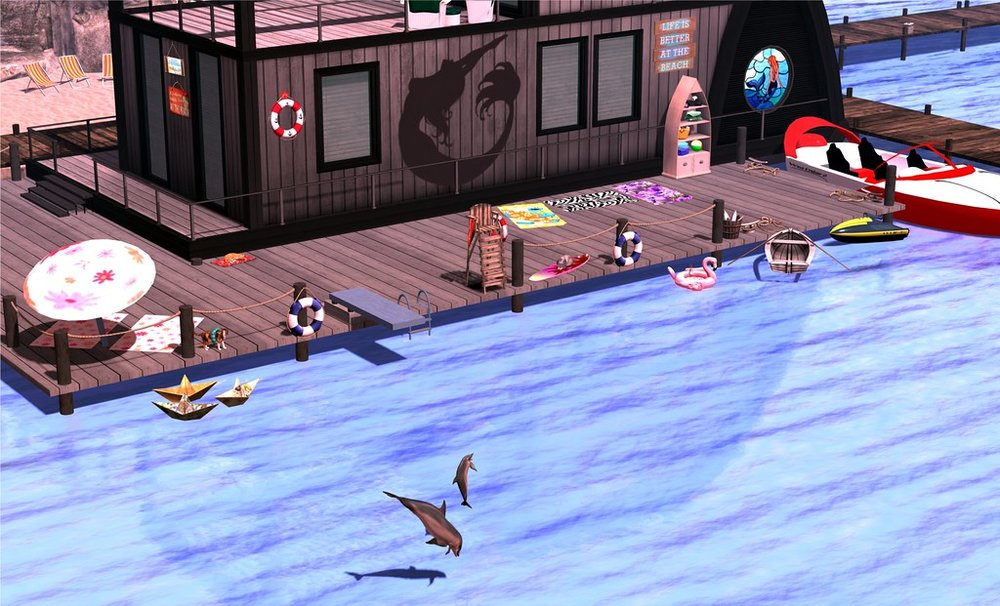 Houseboat Dolphins at Play
