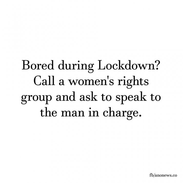 Image may contain: possible text that says 'Bored during Lockdown? Call a women's rights group and ask to speak to the man in charge. fb/anonews.co'